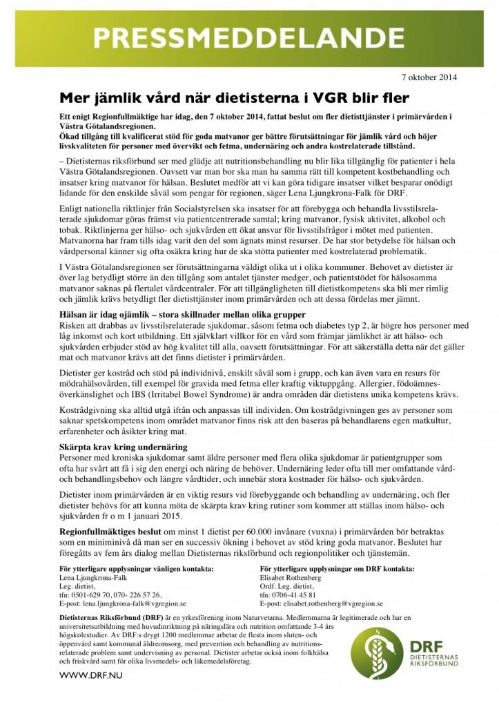 pressmeddelande_DRF VGR RF 7 okt 2014